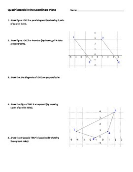 Quadrilaterals In Coordinate Plane Worksheets & Teaching Resources | TpT