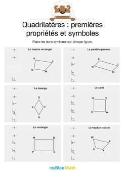 Quadrilatères 5 -Placer les symboles mathématiques sur les quadrilatères