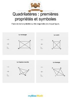 Quadrilatères 6 -Placer les symboles mathématiques sur les quadrilatères