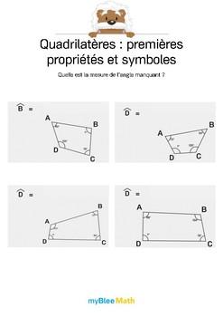 Quadrilatères 7 -Trouver la valeur de l'angle manquant