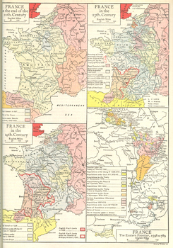 Quadruple Color Map of France from the 10th Century to the 18th Century
