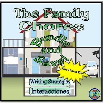 """Home topic:  """"Familia Quagmiria"""" Family Chores Verb Practice Bundle"""