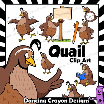 Quail Clip Art with Signs - Letter Q in Alphabet Animal Series