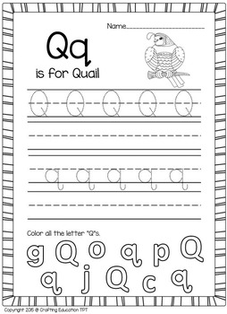 "Quail Craft and Letter ""Q"" Practice Pages"