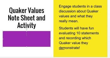 Quaker Values Game