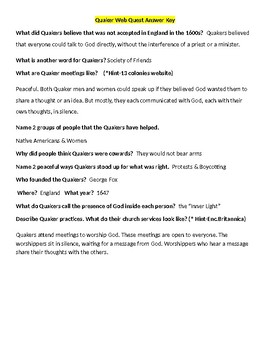 Quaker Web Quest- William Penn Extension Activity