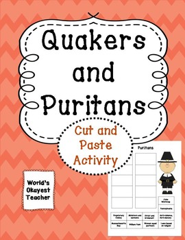 Quakers and Puritans:What's the Difference? Cut and Paste