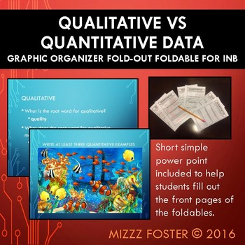 Qualitative vs Quantitative Graphic Organizer for INB with editable Power Point