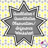 Qualitative & Quantitative Observation/Inference Worksheet