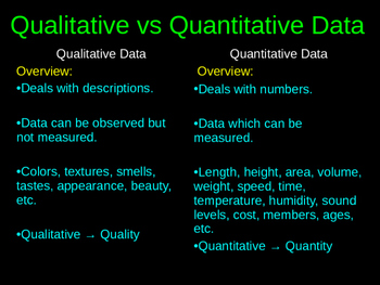 Qualitative Versus Quantitative Powerpoint With Activity