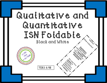 Qualitative and Quantitative Comparison ISN Notes TEKS 6.4B