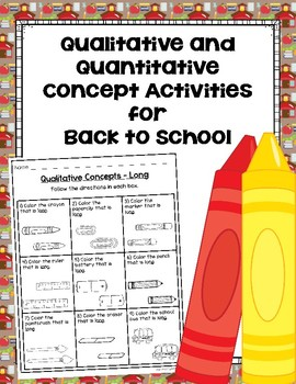 Qualitative and Quantitative Concept Activities for Back to School