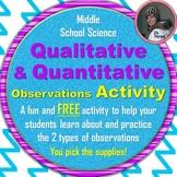 Qualitative and Quantitative Observations Activity Freebie