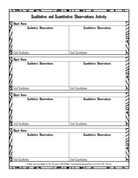 Qualitative and Quantitative Observations Activity Freebie