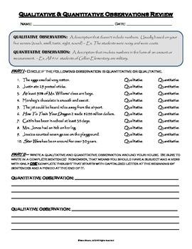 Qualitative and Quantitative Observations Homework