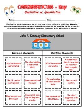 Qualitative and Quantitative Observations Practice