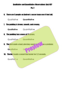 Qualitative and Quantitative Observations Quiz