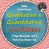Qualitative and Quantitative Observations Worksheet