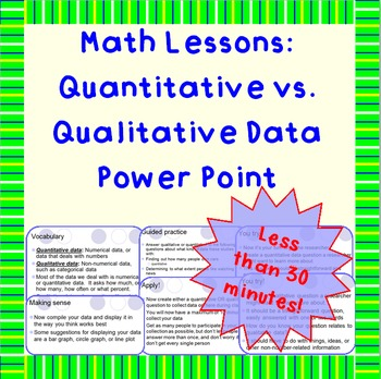 Qualitative vs. Quantitative Data - A Power Point Lesson
