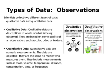 Qualitative vs  Quantitative Observations Card Sort