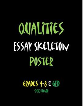 "Qualities Essay Skeleton Poster (11""x25"")"