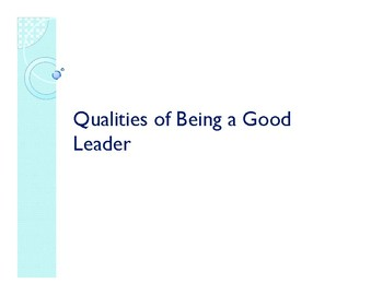 Qualities of Being a Leader