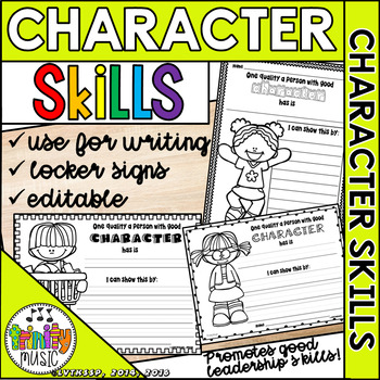 Qualities of Good Character (Editable) Worksheets & Locker Signs