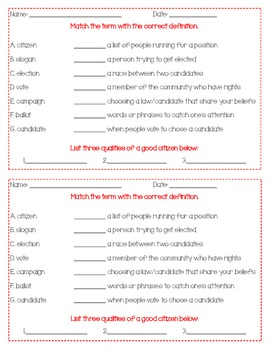 Worksheets Good Citizenship Worksheets qualities of a good citizen worksheets voting by kimberly lesson