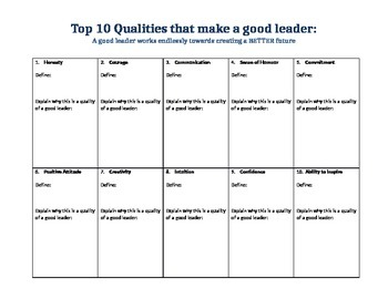 Qualities of a Good Leader - Essay Development