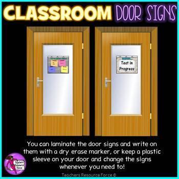 Classroom Door Signs: we've moved, test in progress