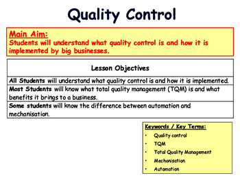 Quality Control & Total Quality Management (TQM) - Operations