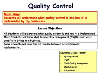 Quality Control & Total Quality Management (TQM) - Operations
