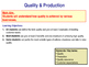 Quality & Production - Total Quality Management & Quality - Worksheet & PPT