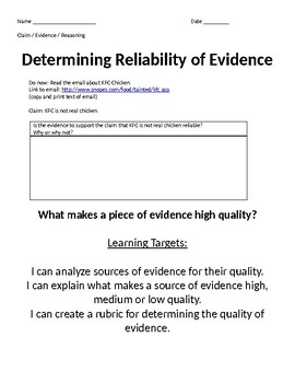 Quality of Evidence Assessment