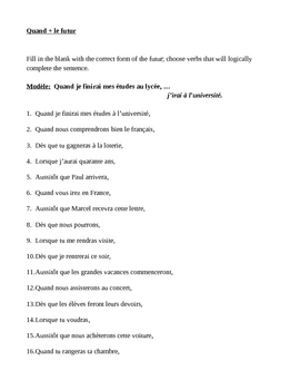 Futur avec Quand (Future tense in French) worksheet 3