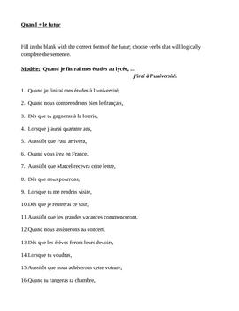 Futur avec Quand (Future tense in French) worksheet 3