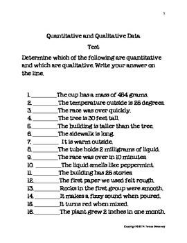 Quantatative Qualitative Data Test