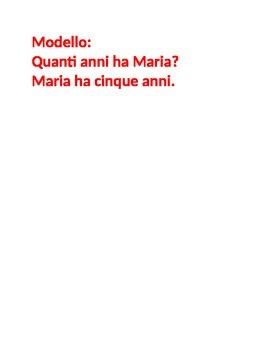 Quanti anni (Age in Italian) Partner Speaking activity