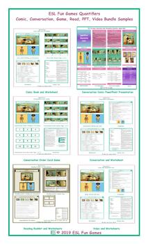 Quantifiers Comic, Conversation, Read, Game, PPT, Video Bundle