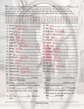 Quantifiers Decoder Box Worksheet