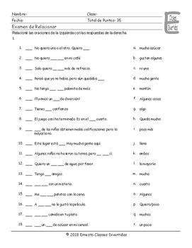 Quantifiers Spanish Matching Exam