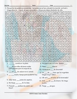 Quantifiers Spanish Word Search Worksheet