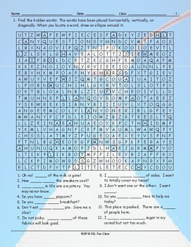 Quantifiers Word Search Worksheet
