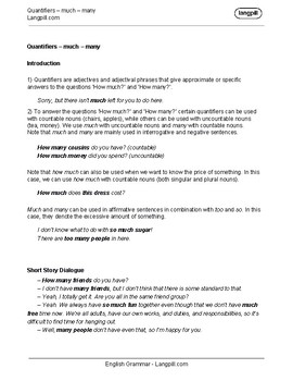 Quantifiers 'much' 'many' Worksheet on wedding guest list worksheets, i and me worksheets, preschool phonological awareness worksheets, some any worksheets, skip counting worksheets, double negatives worksheets, have has worksheets, preschool community helpers worksheets, was were worksheets, can and may worksheets,