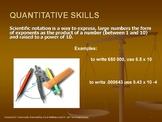 Quantitative Math-Science Skills PowerPoint and 14 page La