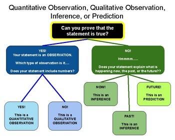 Quantitative Observation, Qualitative Observation, Inference, or Prediction