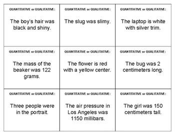 Quantitative Qualitative Data Quiz-Quiz Trade Cards