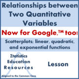Linear, Quadratic, Exponential Functions; Scatterplots (Common Core Lesson)