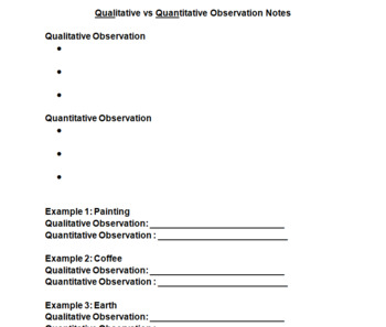 Quantitative and Qualitative Observation PowerPoint, Activity and Homework