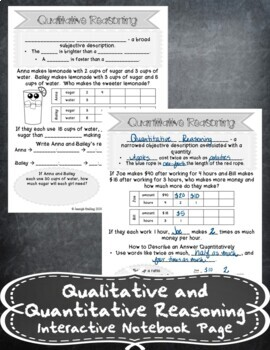Quantitative and Qualitative Reasoning INB TEKS 6.4B